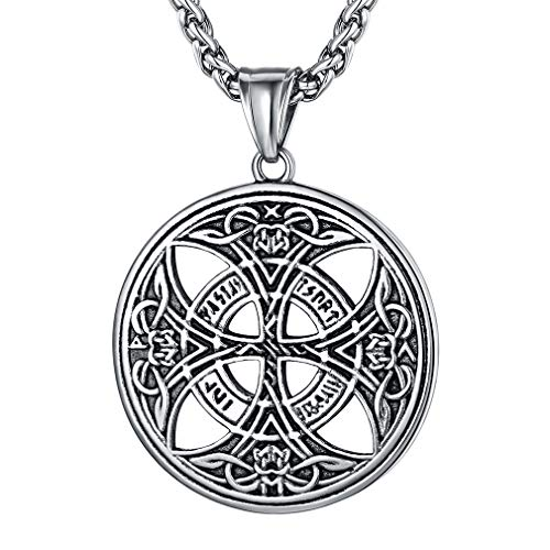 FaithHeart Celtic Knot Pendant Viking Norse Rune Necklace Stainless Steel Vintage Nordic Talisman Necklace for Men Original Jewelry Customize -Silver