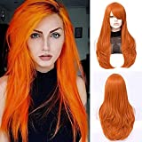 """FVCENT 26"""" Long Straight Orange Side Bang Costume Women Wig for Cosplay Halloween Costume Daily Party"""