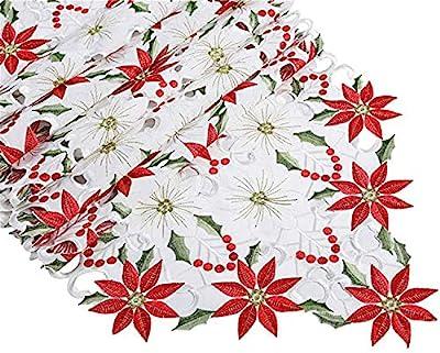 Embroidered Long Oval Rectangular Christmas Table Runner Christmas Star White Cream
