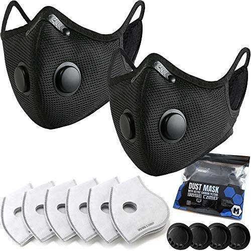 BASE CAMP M Plus Dust Face Mask with Smart Valves 2 Pack with 6 Activated...