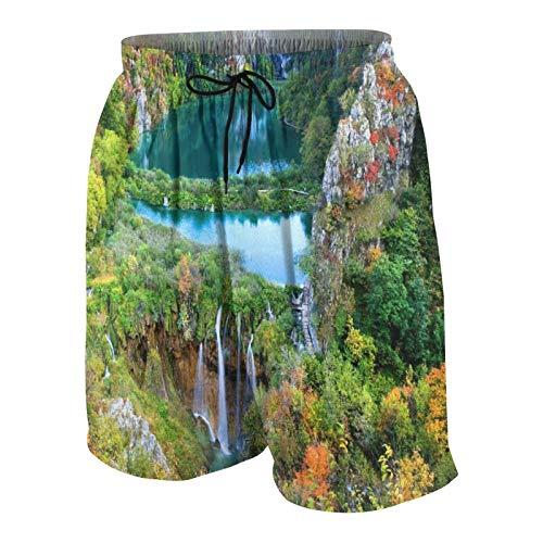 Pantalones de Playa para Adolescentes,Pintoresco Paisaje otoñal con Lagos y cascadas en el Parque Nacional de los Lagos de Plitvice,Croacia,Ropa de Playa Trajes de baño Shorts de Playa M