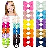 40 Stück Mädchen Kleine Haarschleifen, Elastischen Haargummis Ripsband Haarbögen Mehrfarbig haarschmuck für Baby Mädchen Kleinkinder