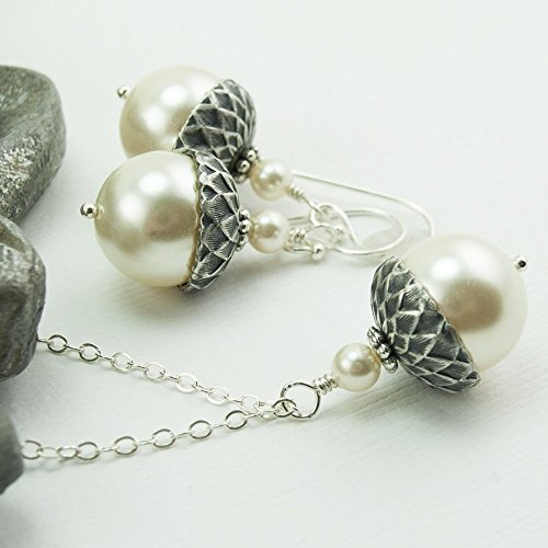 Acorn Jewelry Set Necklace and Earrings with Cream Colored Simulated Pearls by Swarovski, 20 inch Chain