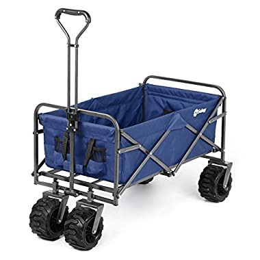 Sekey Folding Wagon Cart Collapsible Outdoor Utility Wagon Garden Shopping Cart Beach Wagon with All-Terrain Wheels, 265 Pound Capacity, Blue