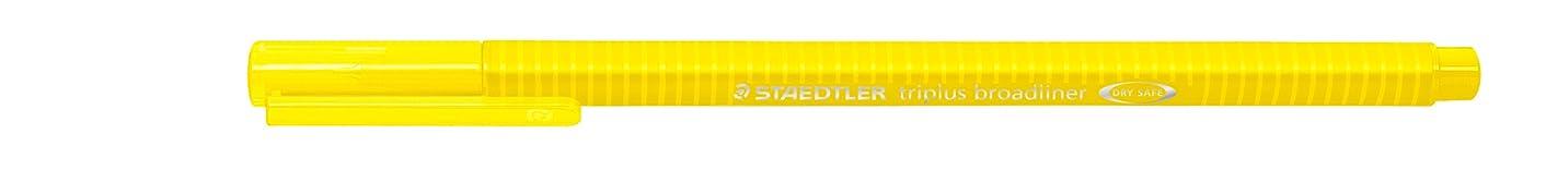 Staedtler 338-1 Triplus Braodliner Pen with Triangular Barrel in Cardboard Pack, Metal-clad Tip, Approx. 0.8?mm, Yellow (Pack of 10)