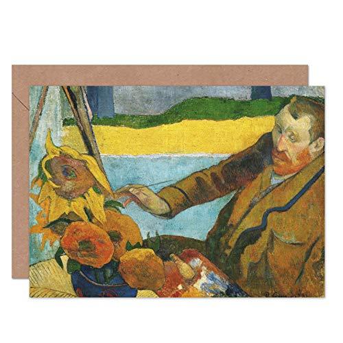 Paul Gauguin Vincent Van Gogh Schilderij Zonnebloemen Fijne Kunst Wenskaart Plus Envelop Blank Binnen