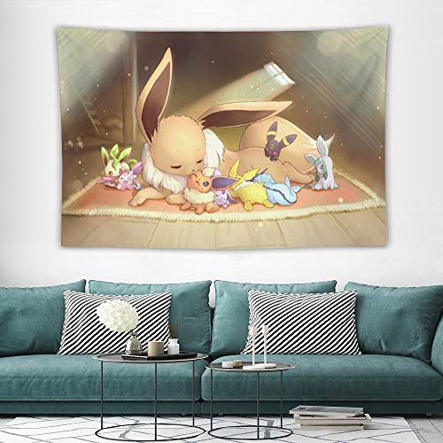 Tapestry,Eevee Evolutions family,Best children birthday present,Cartoon Anime Wall Hanging Art for Bedroom Living Room College Dorm Home Decor,60x40 inches
