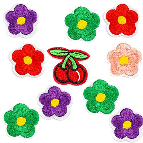 AGFXN - jiajutao Iron On Patches,10 Pcs Embroidered Delicate and lovely flowers Applique Patches Kit Decoration Sew On Patches for Clothing Jackets Backpacks Jeans Kids