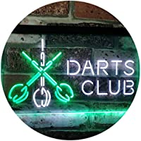 Dart Clubs Bar Pub VIP Open Dual Color LED看板 ネオンプレート サイン 標識 白色 + 緑色 300 x 210mm st6s32-i3185-wg