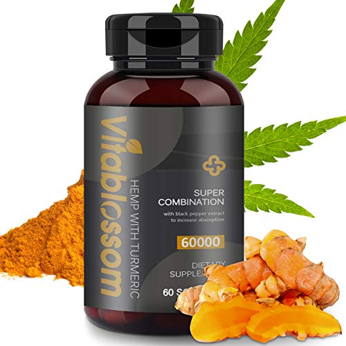 Hemp Capsules 60000MG, with Turmeric Curcuminoids & Black Pepper Extract, Advanced Absorption Vegan Friendly Formula Softgels - 60 Capsules (Turmeric)