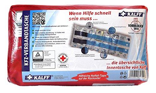 Kalff Verbandstasche Auto Testsieger DIN 364, KFZ Verbandskasten mit Erste Hilfe Broschüre