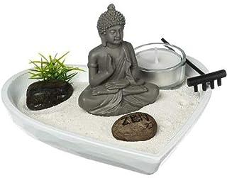 Ducomi Zen Tableau de Jardin avec Plateau, Sable, Figurine de Bouddha, Rock -Kit de Méditation Japonaise -Accessoires pour...