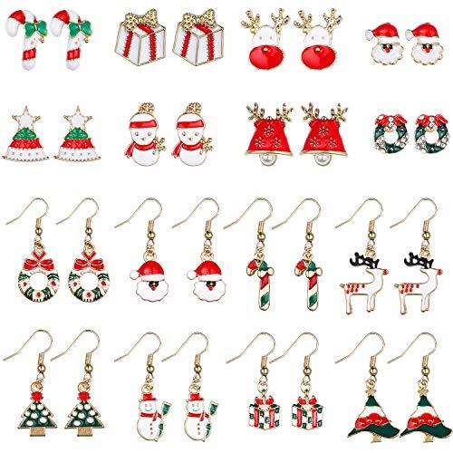 16 Pairs Christmas Earrings Xmas Dangle Earrings Santa Cane Shaped Earrings Set for Women