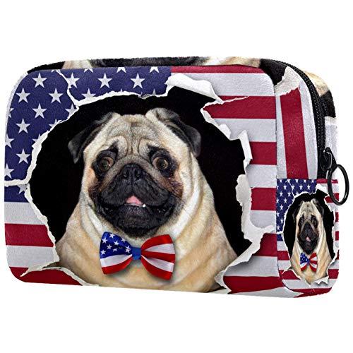 Bolsa de cosméticos para Mujeres Nudo de Corbata de Perro Bandera Americana Bolsas de Maquillaje espaciosas Neceser de Viaje Organizador de Accesorios