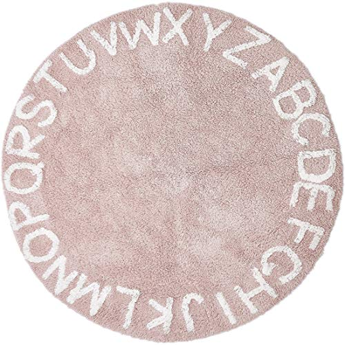Habudda Super Soft Cotton Luxury Plush Baby Crawling Rugs Kids Play Mat Educational ABC Alphabet Area Rugs Baby Shower Gift Kids Teepee Tent Game Play House Round 1.2 meters 47.24 inch Diameter(Pink)