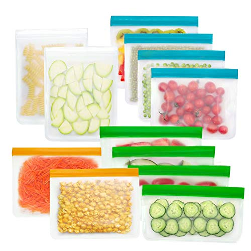 Jacriah Reusable Silicone Food Bag,12 Pack BPA Free(4Gallon Bags,4Sandwich Bags,4Snack Bags) for Marinate Meats, Cereal, Sandwich, Fruit,Travel Cosmetic. BEST for Travel Items and Meal Prep.