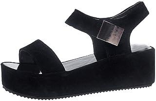 248e2c06 POLP Sandalias Mujer Plataforma Verano Zapatillas Deportivas Negro Blanco  Casual Sandalias de Vestir Mujer Tacon con