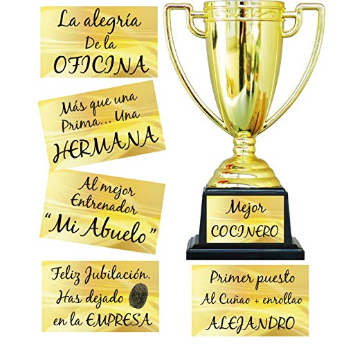 FIESTADEKOR Trofeo para Personalizar con Todo Tipo de Textos Especial para Regalo