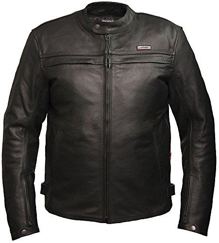 Skintan Herren Leder Motorradjacke Gepanzerte Lederjacke mit Protektoren Schwarz (M Brust 102cm) - Trojan