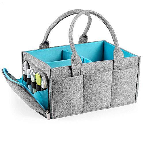 Bolsa de almacenamiento de fieltro plegable Organizador portátil de pañales para bebés Cubierta con cremallera completa para bolsa de pañales de higiene Cambio de canasta