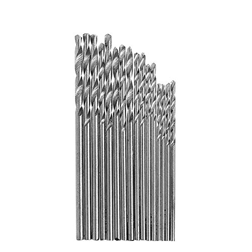 angwang White Steel Drill Bits,16Pcs HSS White Steel Twist Drill Bit Set 0.8-1.5mm for Electric Grinding Drills Silver