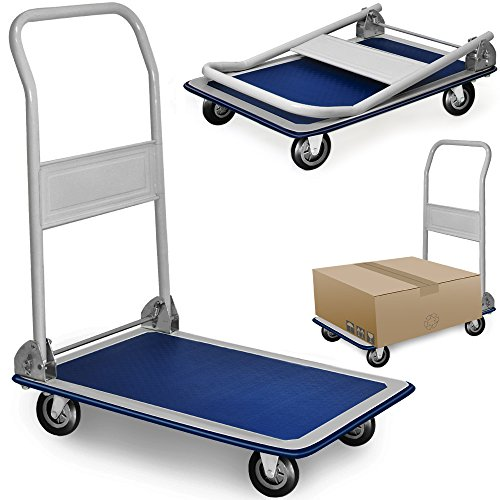 DEUBA® Plattformwagen | bis 150 kg | klappbar | Antirutsch Beschichtung | Transportwagen Handwagen Transportroller Sackkarre