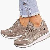 Zapatillas de Running de Deporte para Mujer Zapatillas de Deporte Casuales con Cuña Cordones y Cremallera Zapatillas...