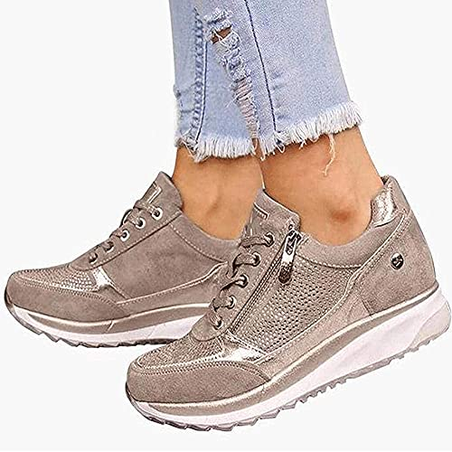 Zapatillas de Running de Deporte para Mujer Zapatillas de Deporte Casuales con Cuña Cordones y...