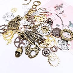 80PCS Assorted Antique Steampunk Gears Vintage Skeleton Charms Pendant Mixed for Necklace Bracelet Jewelry Making Accessory (Bronze and Silver Mixed Color) #1