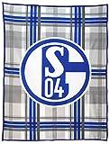 FC Schalke 04 Fleecedecke mit Logo auf Karomuster in 150x200cm