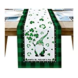 Prevently Table Runners,Creative St. Patrick's Day Tabletop Swedish Tomte Gnomes Pattern Decorations Non-slip Table Cloth for Kitchen Dinning Table Cover Decoration (33×229)
