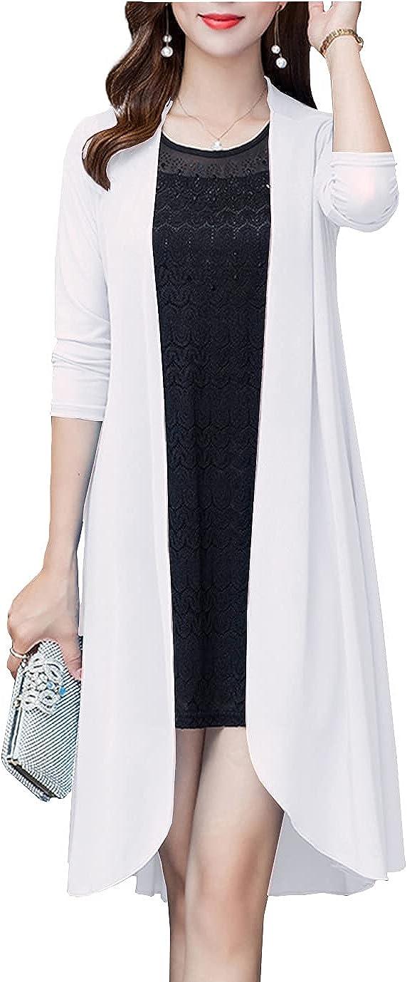 Duyang Women's Summer Long Sleeve Open Front Chiffon Kimonos Lightweight Loose Cardigans