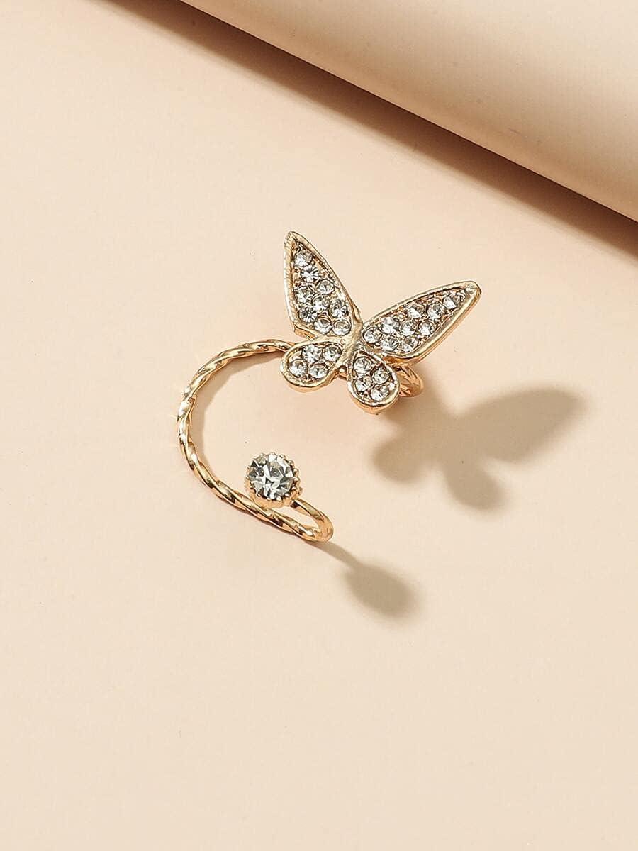 kgjsdf Hoop Earrings 1pc Rhinestone Butterfly Decor Ear Cuff (Color : Gold)