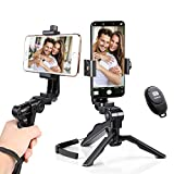Ezavan for iPhone Tripod with Bluetooth Remote. Mini Pistol Grip Tripod Stand Stabilizer for Selfies/Vlogging/Streaming/Photography