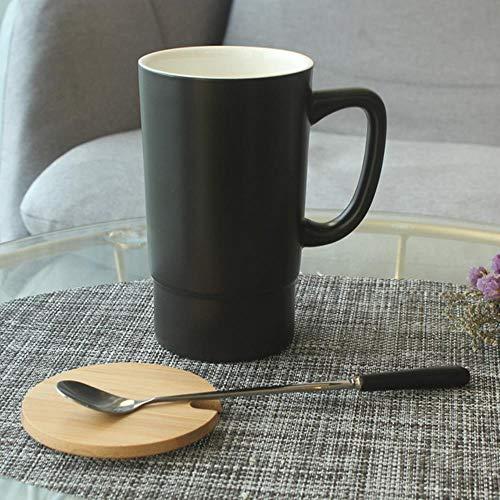 Espressotasse Geschenk 550 Ml Keramikbecher Tasse Keramikbecher Mit Großem Fassungsvermögen Und Deckellöffel Einfacher Bürohaushalt Paar Wasserbecher, B.