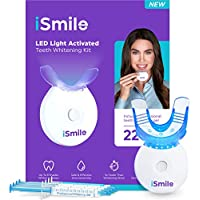 iSmile LED Light Teeth Whitening Kit with (3) 3ml Gel Syringes, (1) Remineralization Gel & Tray