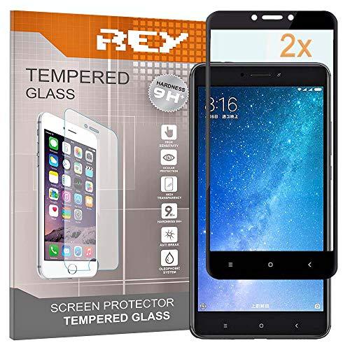 REY Pack 2X Panzerglas Schutzfolie für XIAOMI MI MAX - MI MAX 2, Schwarz, Displayschutzfolie 9H+, Polycarbonat, Härte, Anti-Kratzen, Anti-Öl, Anti-Bläschen, 3D / 4D / 5D