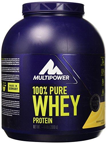 Multipower 100% Pure Whey Protein - Fino a 80% di Proteine del Siero del Latte - Proteine Isolate come Fonte Principale - 67 Porzioni - Per lo sviluppo Muscolare - 2 Kg - Gusto Banana-Mango
