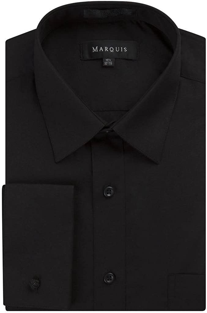 Marquis Men's Solid French Cuff Dress Shirt (Cufflinks Included)