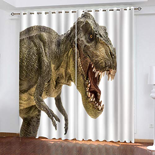 ZXPAG 3D Cortina Opaca Con Ojales Cortinas Térmicas Aislantes Decoración Ventanas -Impresión Digital Cocina De Dormitorio De La Sala De Estar - 140X100Cm - Patrón De Dinosaurio Animal