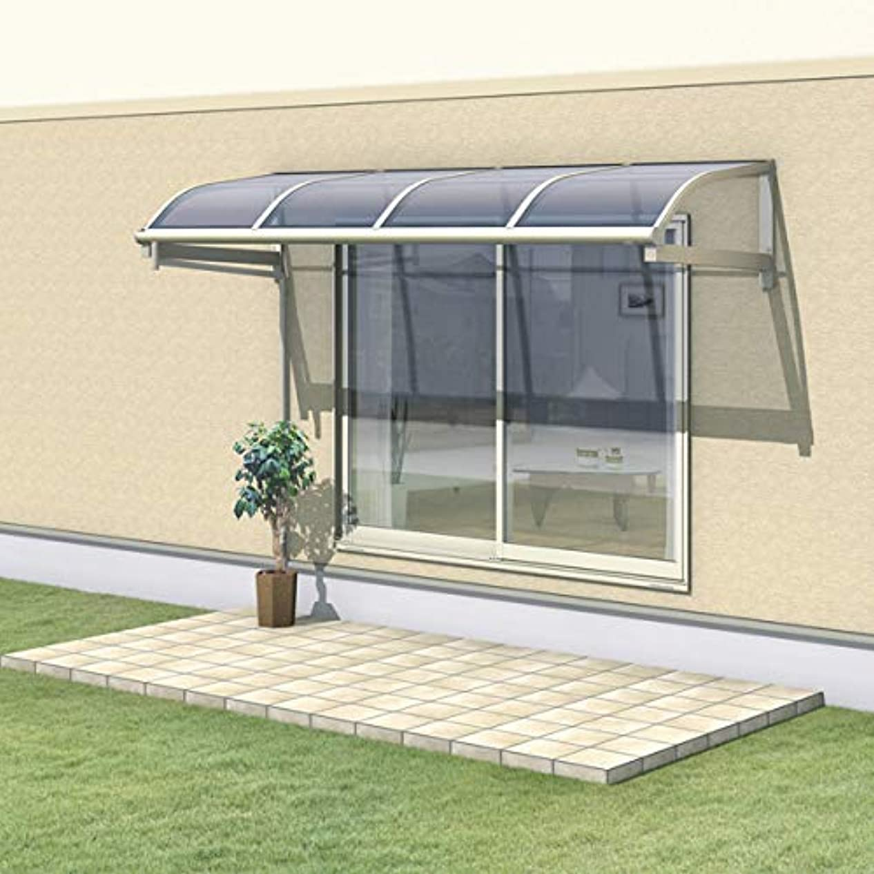 メーター休憩する後継三協アルミ レボリューA 1.0間×2尺 600タイプ/メーターモジュール/1?2階用R型/柱なし式/単体 熱線遮断ポリカ *雨トイは3m×2本を手配します 『テラス屋根』 アーバングレー