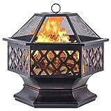 Wsjfc Outdoor-Feuerstelle, Sechskantgitter-Lagerfeuer Holzbefeuerte Feuerstelle Feuerschale mit Funkenschutzabdeckung, Garten-Camping-Patio-Feuerstelle