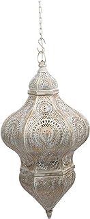 Boho Traders Casablanca Iron Pendant Light, White, Antique Gold