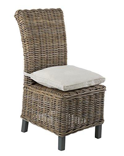 East at Main Cranston Grey Rattan Dining Chair, (25x19x41)
