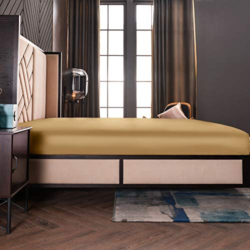 """THXSILK 19mm Silk Fitted Sheet, 1 Fitted Sheet ONLY, High End Collection Silk Bed Sheet with Deep Pocket 16"""", Machine Washable, Durable, King Size, Metallic Gold"""