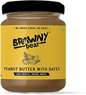 Brawny Bear Peanut Butter with Dates Spread Packed Glass jar 200g,(India's First Date-Based Spread, No Added Sugar/ No Dairy)