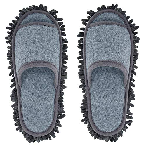 Microfiber Slippers Women and Men House Slippers Floor Cleaning Mop Floor Dust Cleaning Tool Unisex Slippers (Dark grey, Women11-13/Men 9-11)