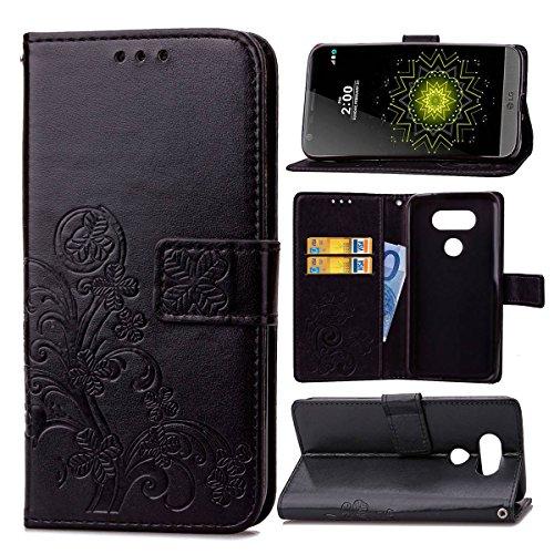 Schutzhülle Für LG G5 / LG G5 SE , pinlu® Handyhülle Hohe Qualität PU Ledertasche Brieftasche Mit Stand Function Innenschlitzen Design Glücklich Klee Muster Schwarz