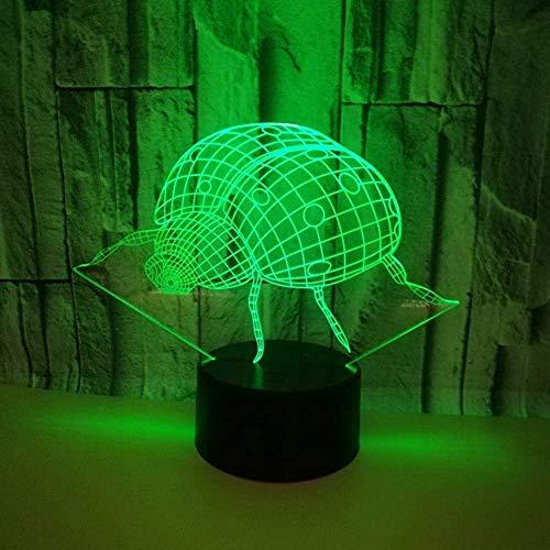 3D visuelle Lampe Optische Täuschung LED Nachtlicht, 7 wechselnde Farben Touch Nachtlicht , Ein perfektes Weihnachts- und Neujahrsgeschenk für Mädchen und Jungen-Marienkäfer