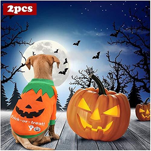 WMWJDQ 2 stks Halloween Kostuum Voor Honden, Huisdier Kleding Hond Halloween Pompoen Hond Shirts Kostuum Voor Kleine Honden, Halloween Kerstmis Pasen Festival Activiteit Kleding
